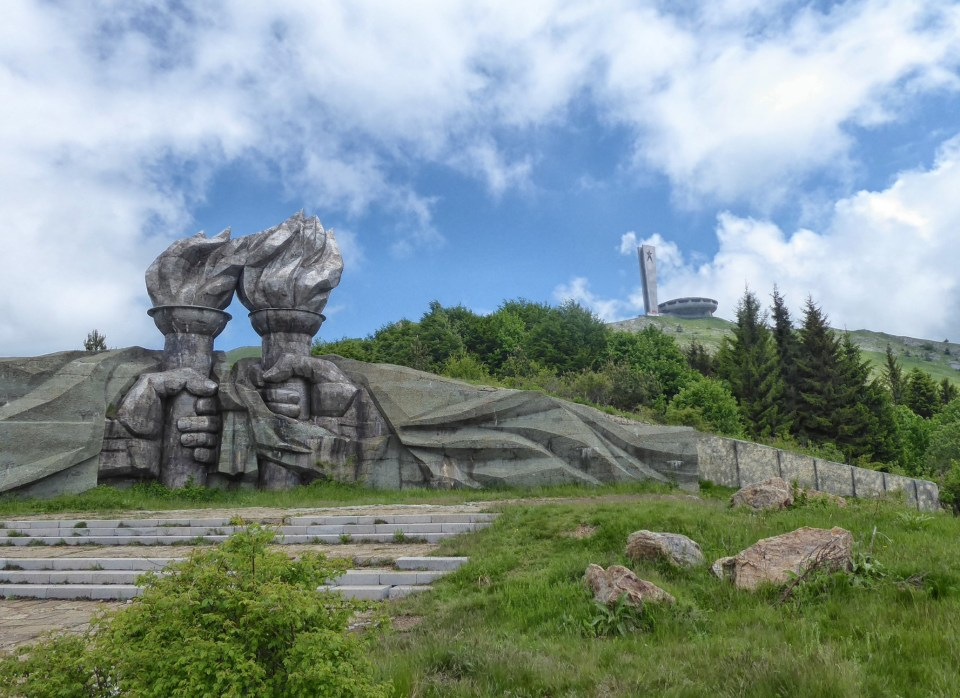 The Fists with Buzludzha Monument beyond