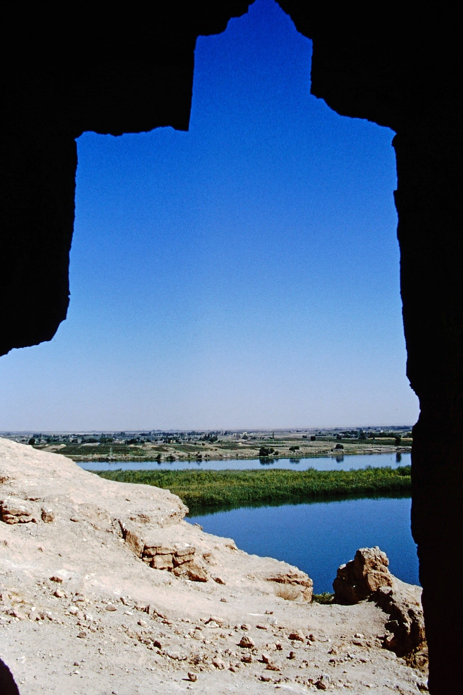 River view framed by ruins