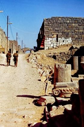 Dusty street with broken columns