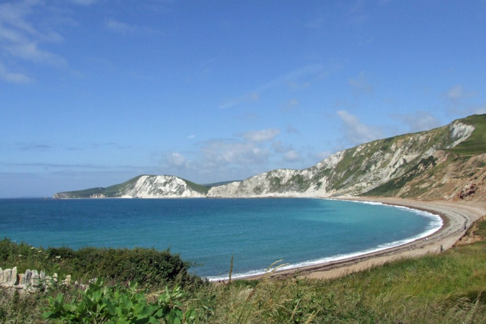 View of a bay with white cliffs