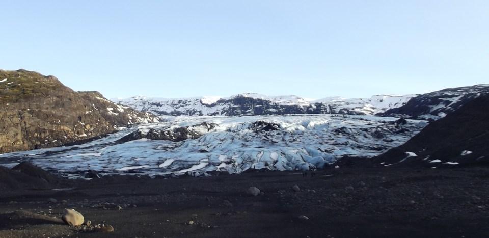 Glacier in volcanic landscape
