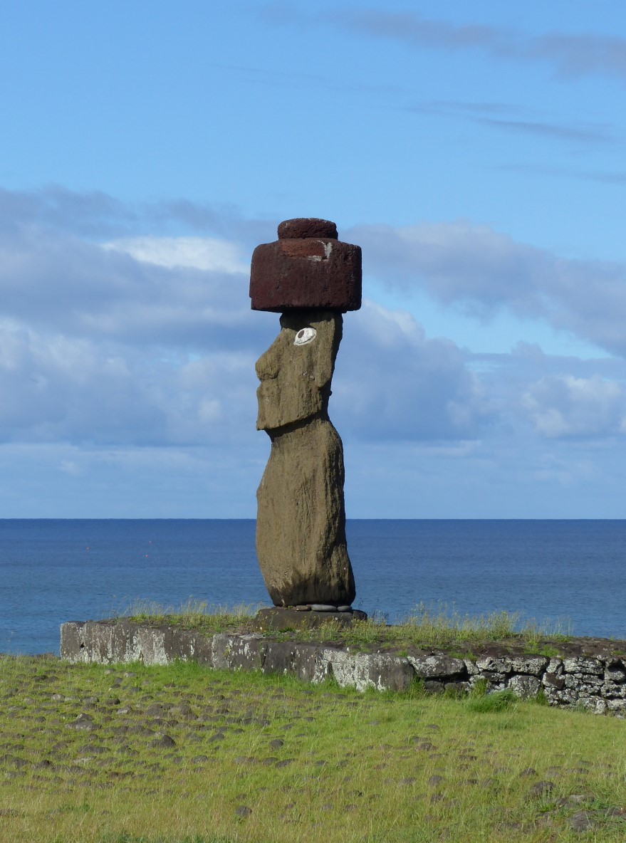 Moai with top-knot and restored eyes