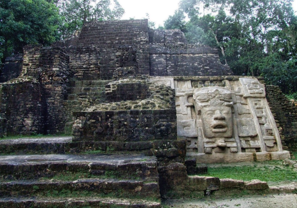 Mayan temple with carved face