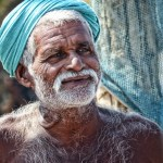 Man in a turban with fishing nets