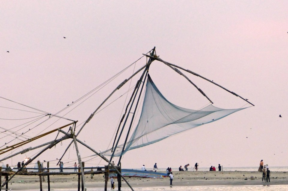 Fishing nets with pink sky