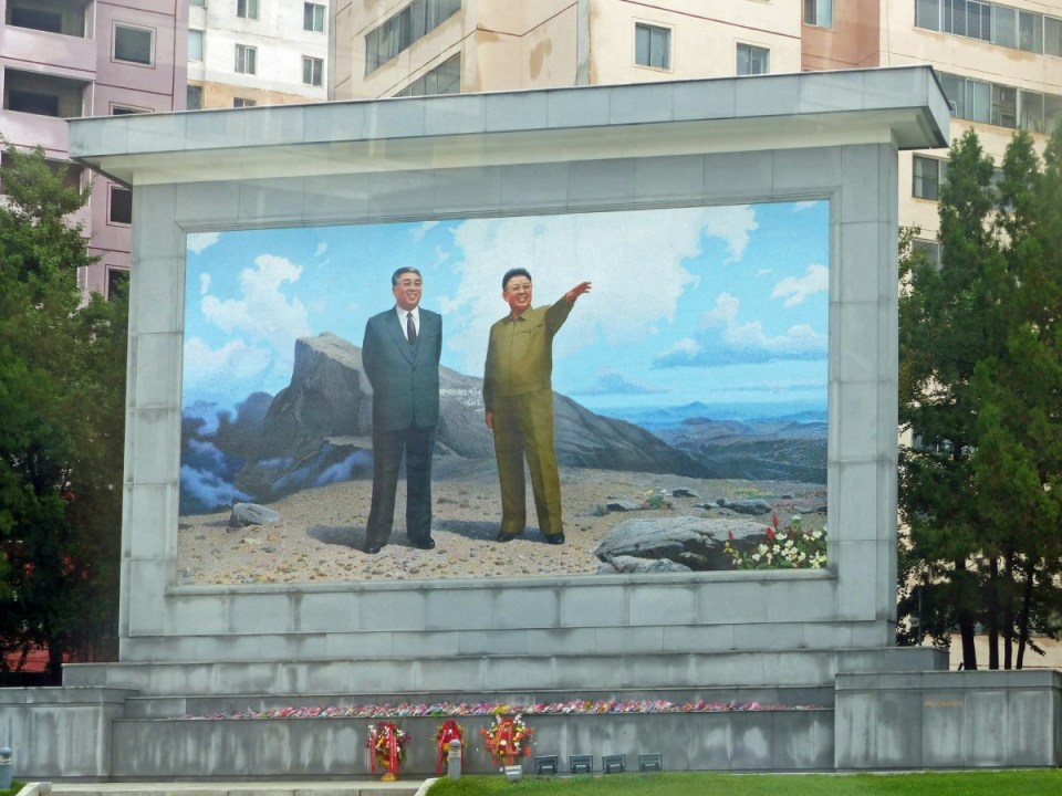 Huge mosaic of two men on a mountain top