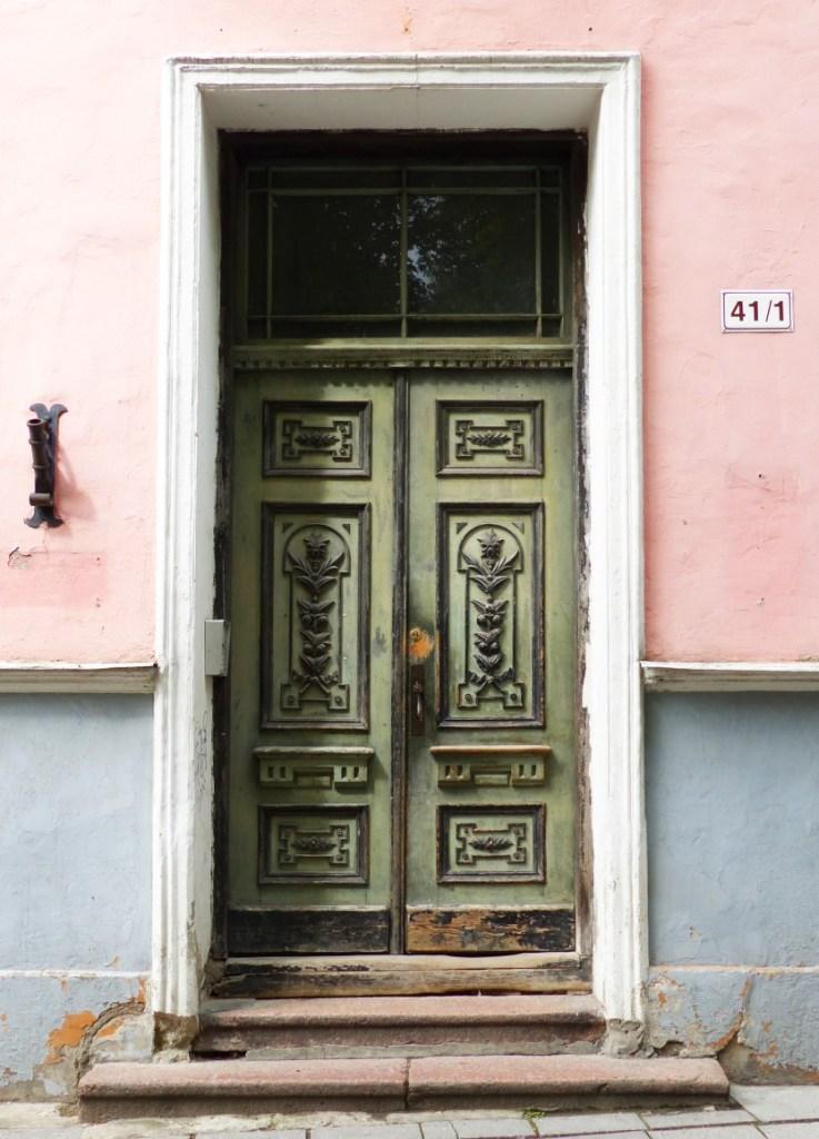 Ornate green door