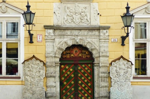 Ornate door and building