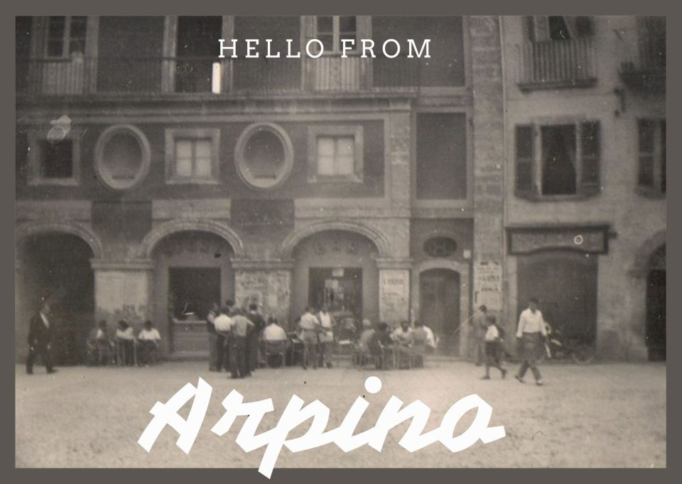 Old photo of Italian town square as a postcard