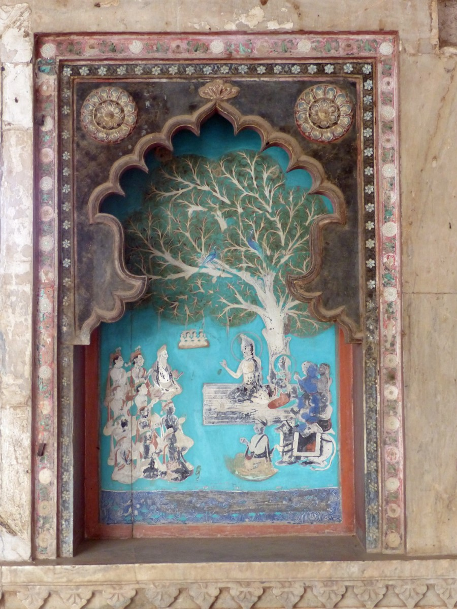 Wall painting of Buddha preaching under a tree