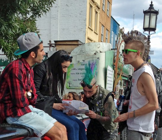 Group of young people, some with punk hair-dos