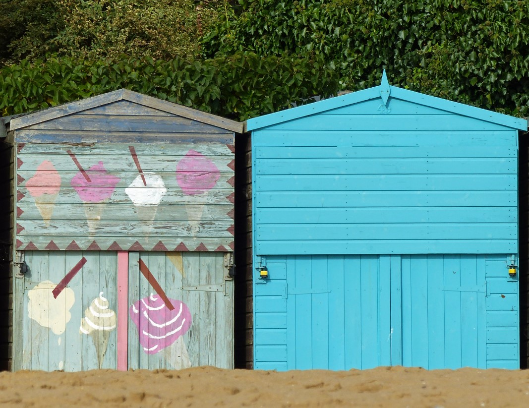 Two wooden huts