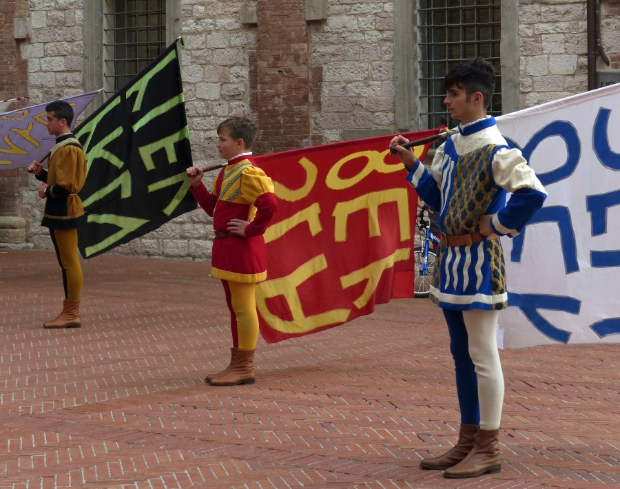 Young men in historical costume with flags