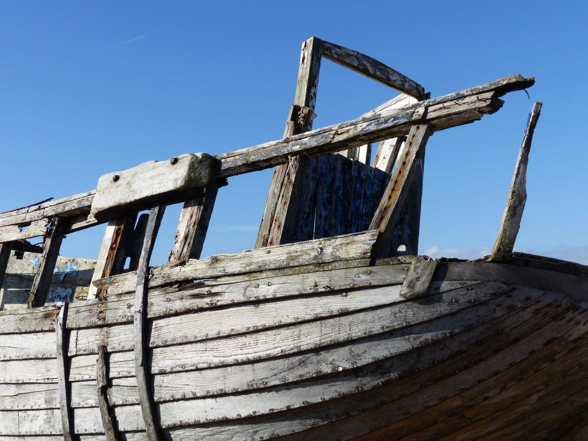 Damaged wooden boat