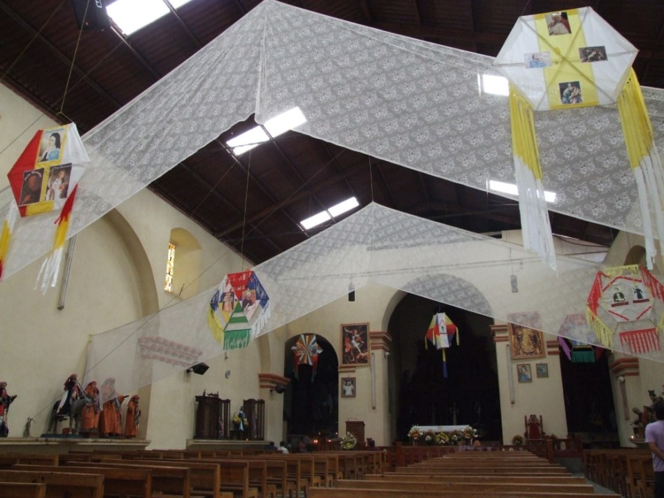 Interior of a church with fabric hangings