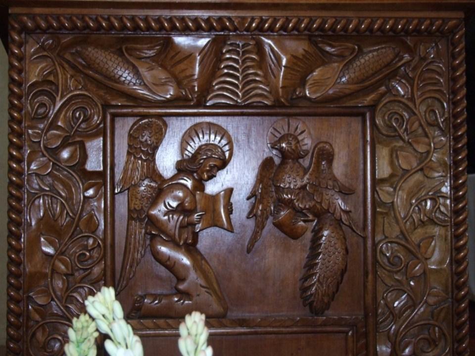 Detail of carved wooden pulpit