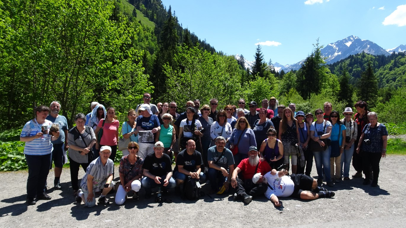 Large group of people in a mountain setting