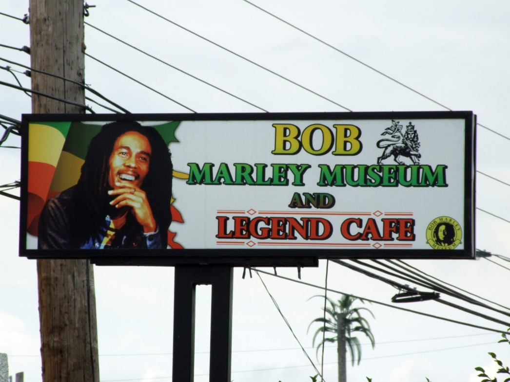 Sign with picture of Bob Marley