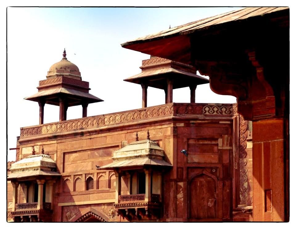 Intricate red stone palace