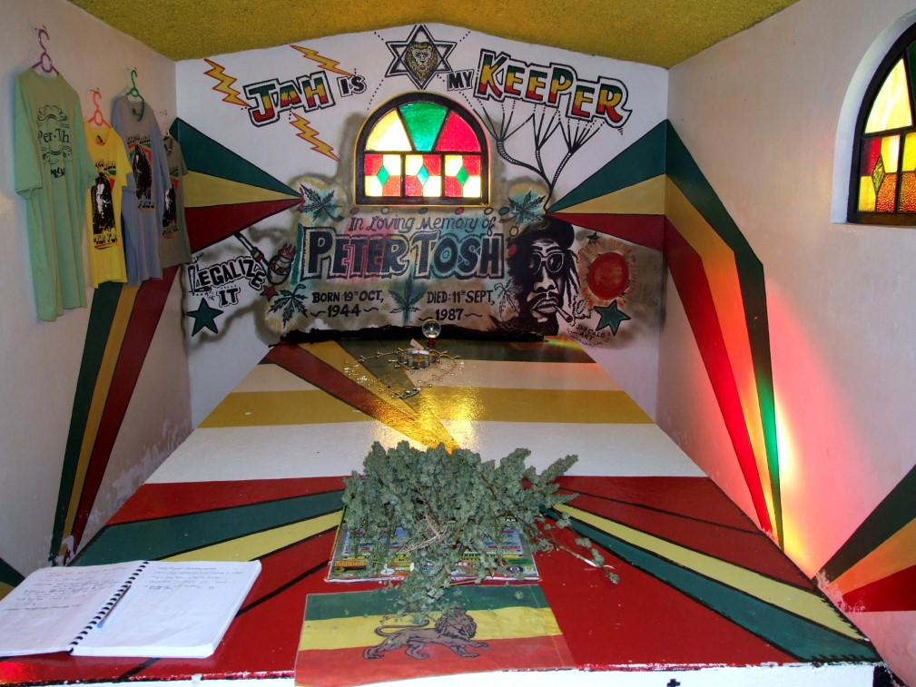 Colourful tomb inside a small building