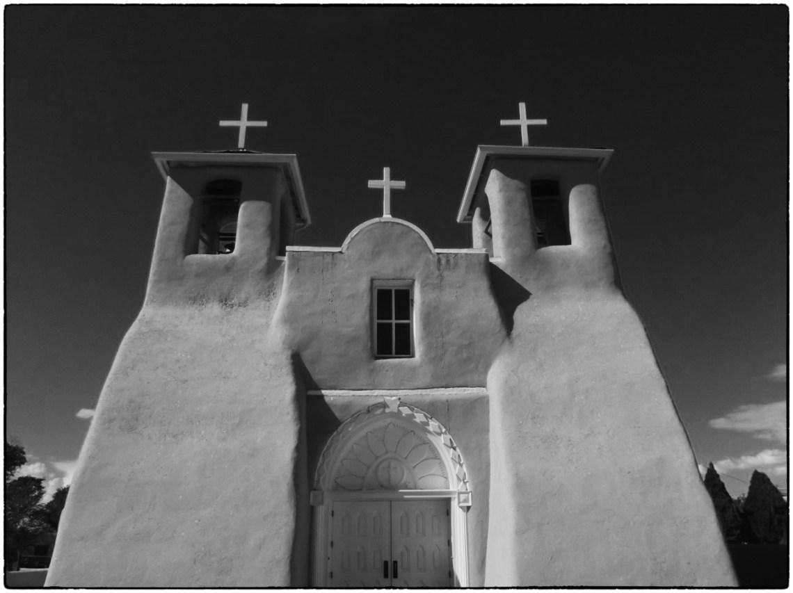Black and white photo of adobe church