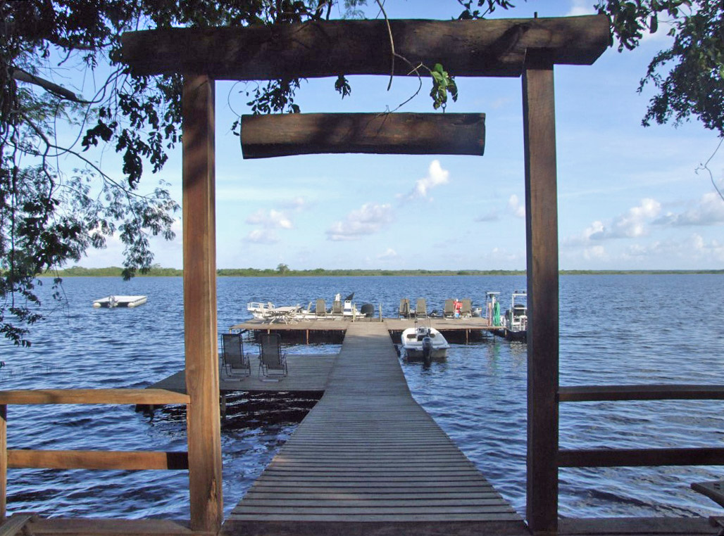 Wooden jetty on a lake