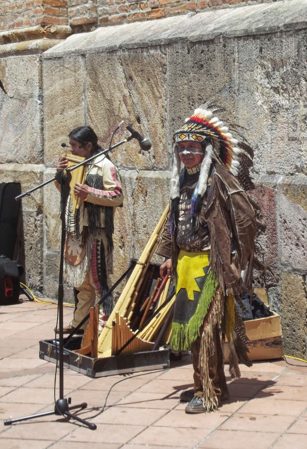 Men in traditional Native American dress