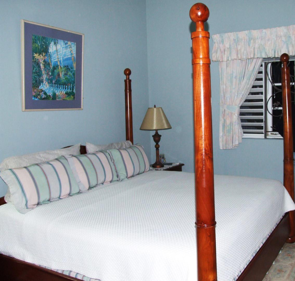 Bedroom painted pale blue