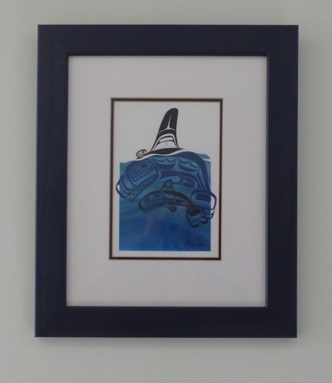 Stylised picture of whales