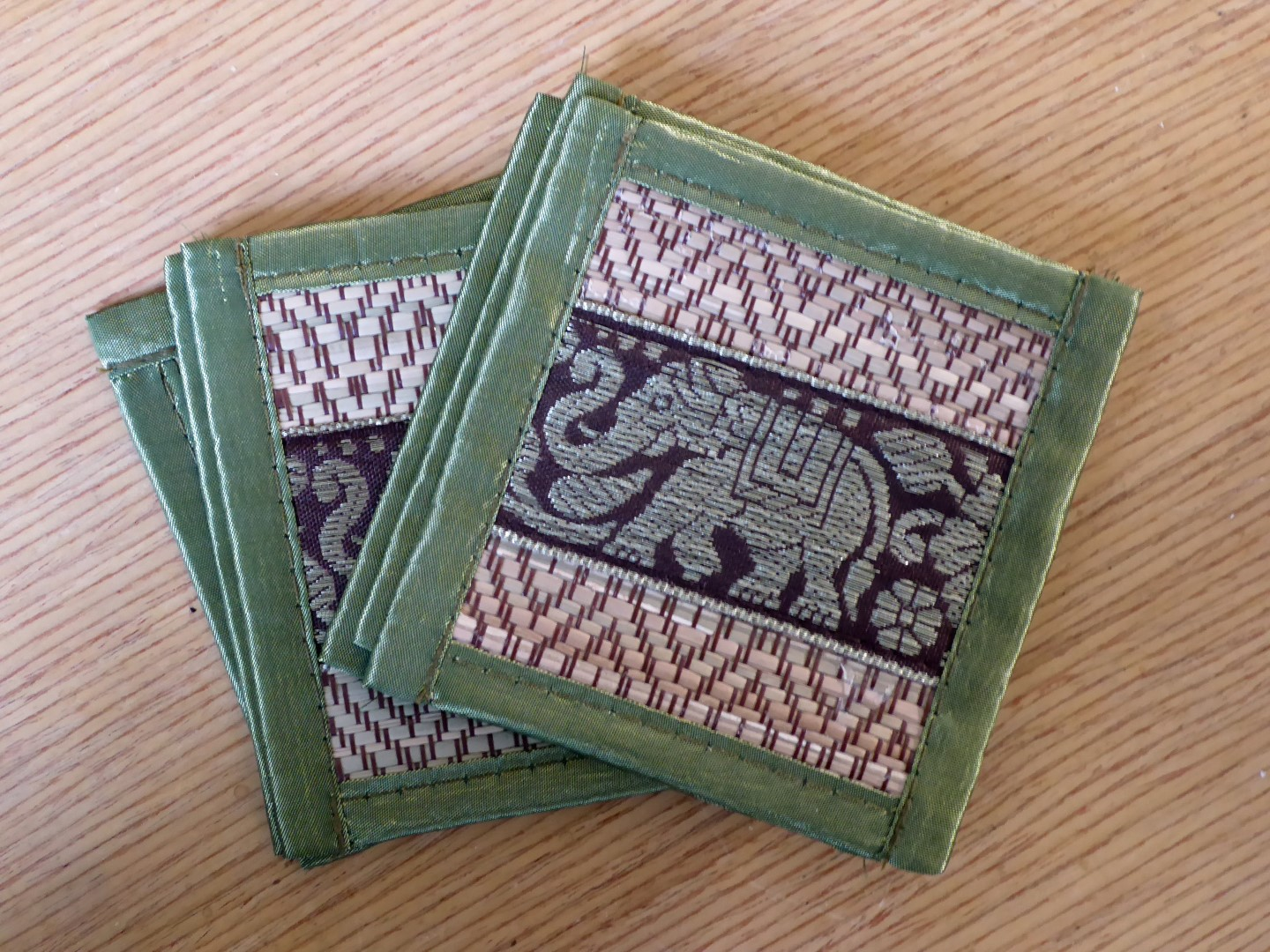 Woven coasters with elephant design