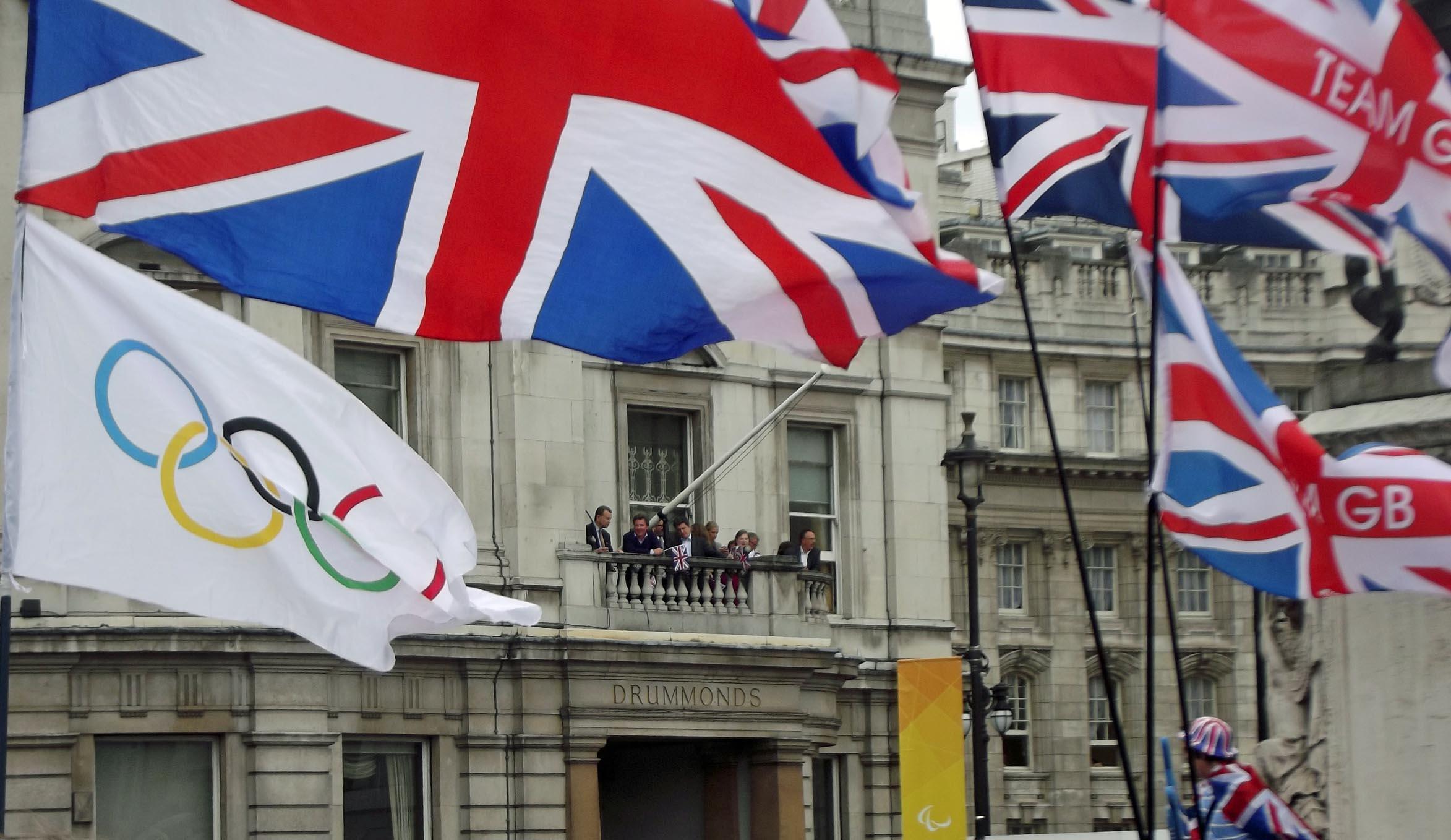 Crowd waving flags