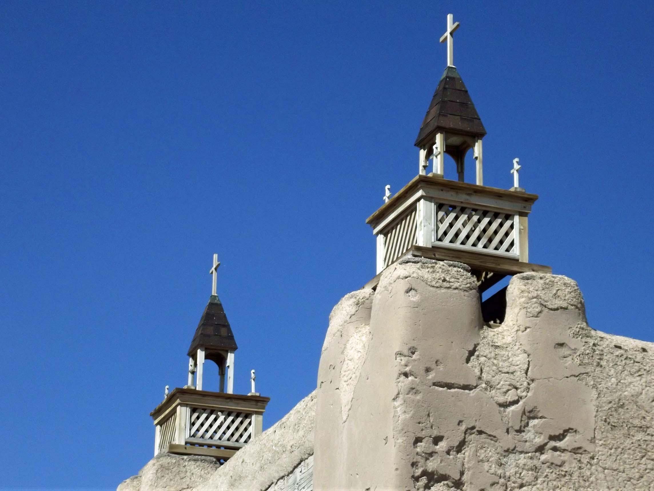Towers of an adobe church