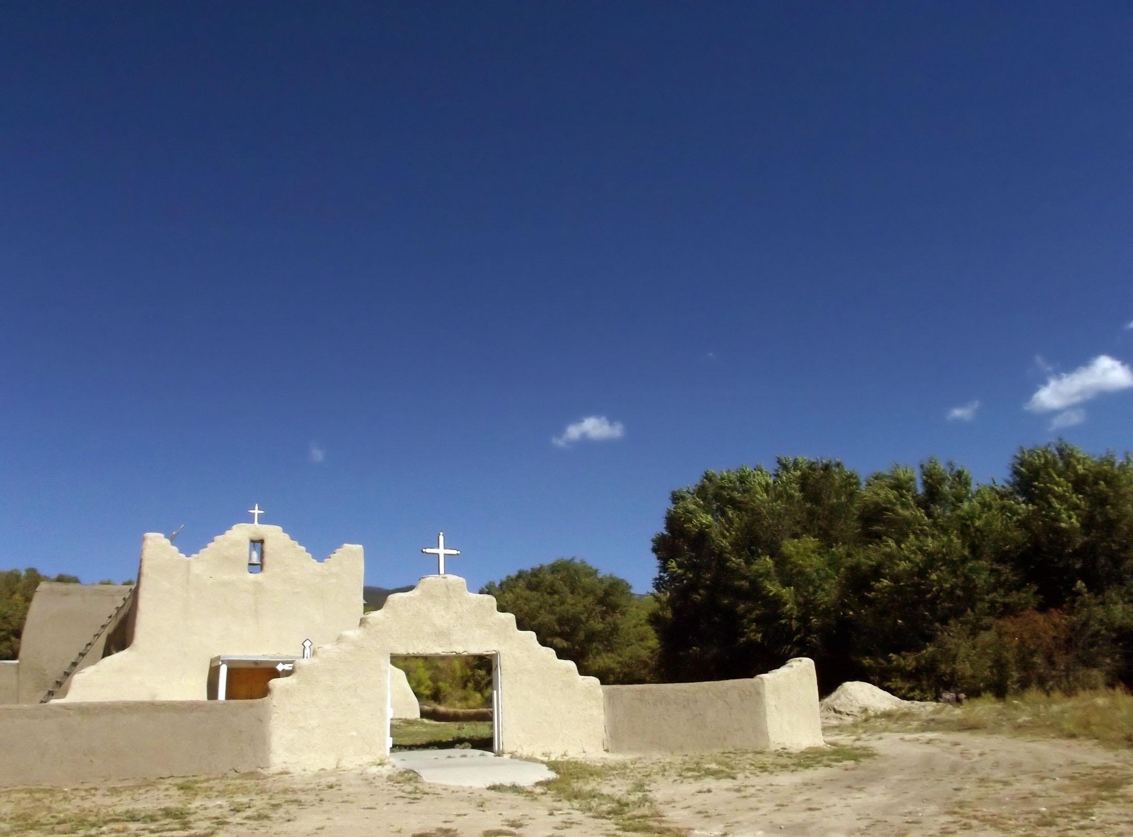 Adobe church, blue sky
