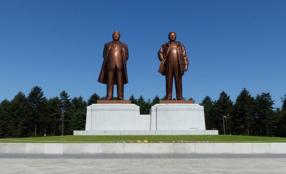 Large statues of North Korean Leaders