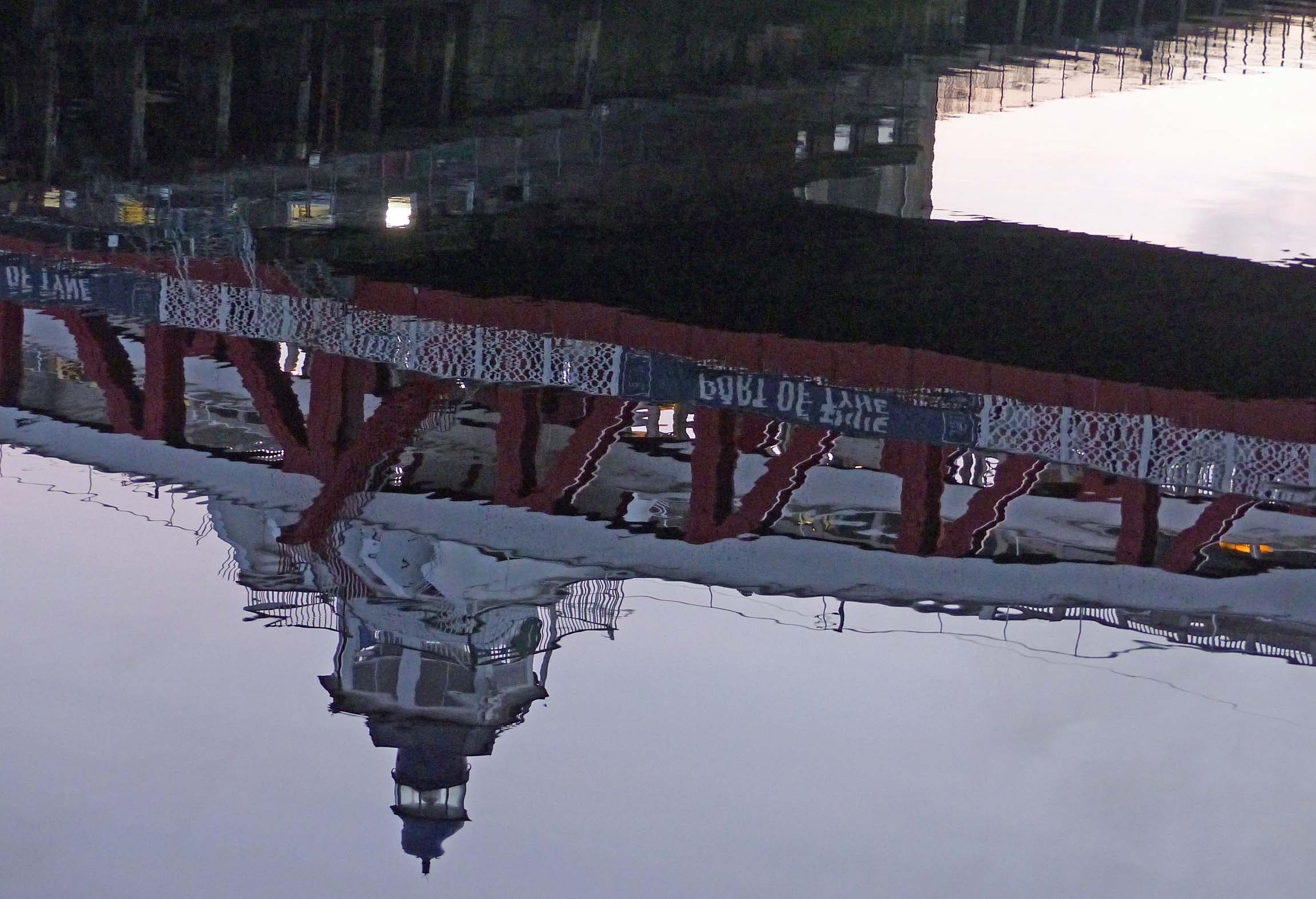 Bridge reflected in a river