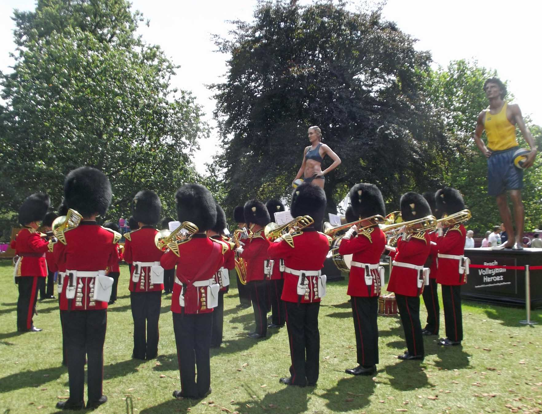 Brass band in red uniforms
