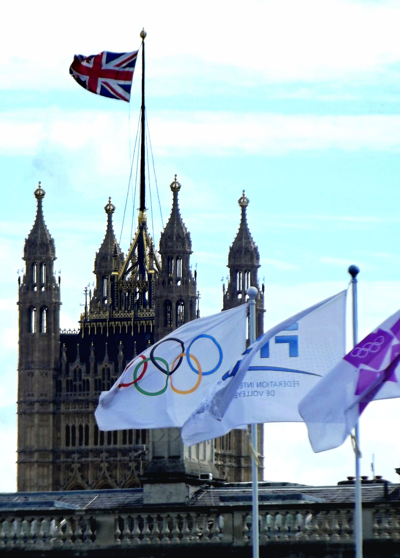 Flags in front of the Houses of Parliament