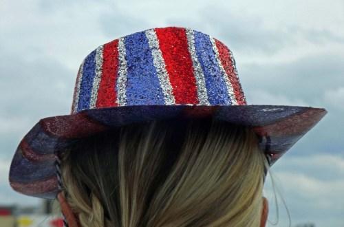 Back of a head wearing Union Jack hat