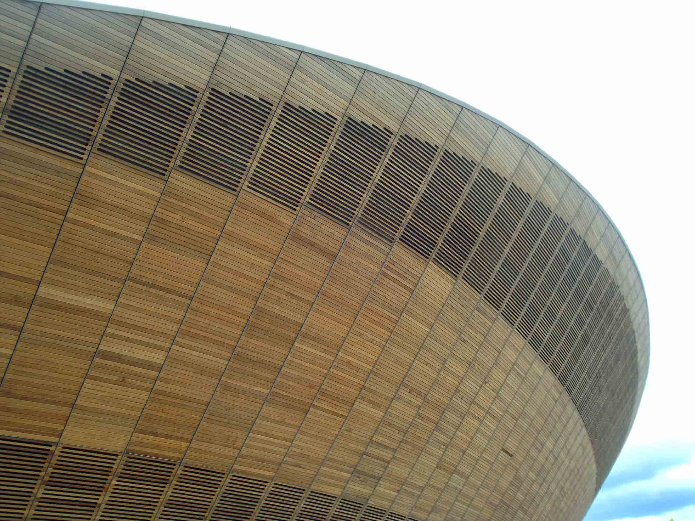 Curved wooden stadium wall
