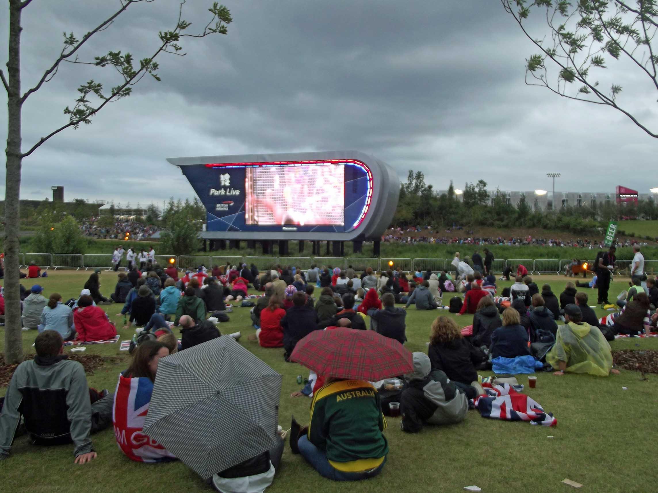 People on grass watching big screen