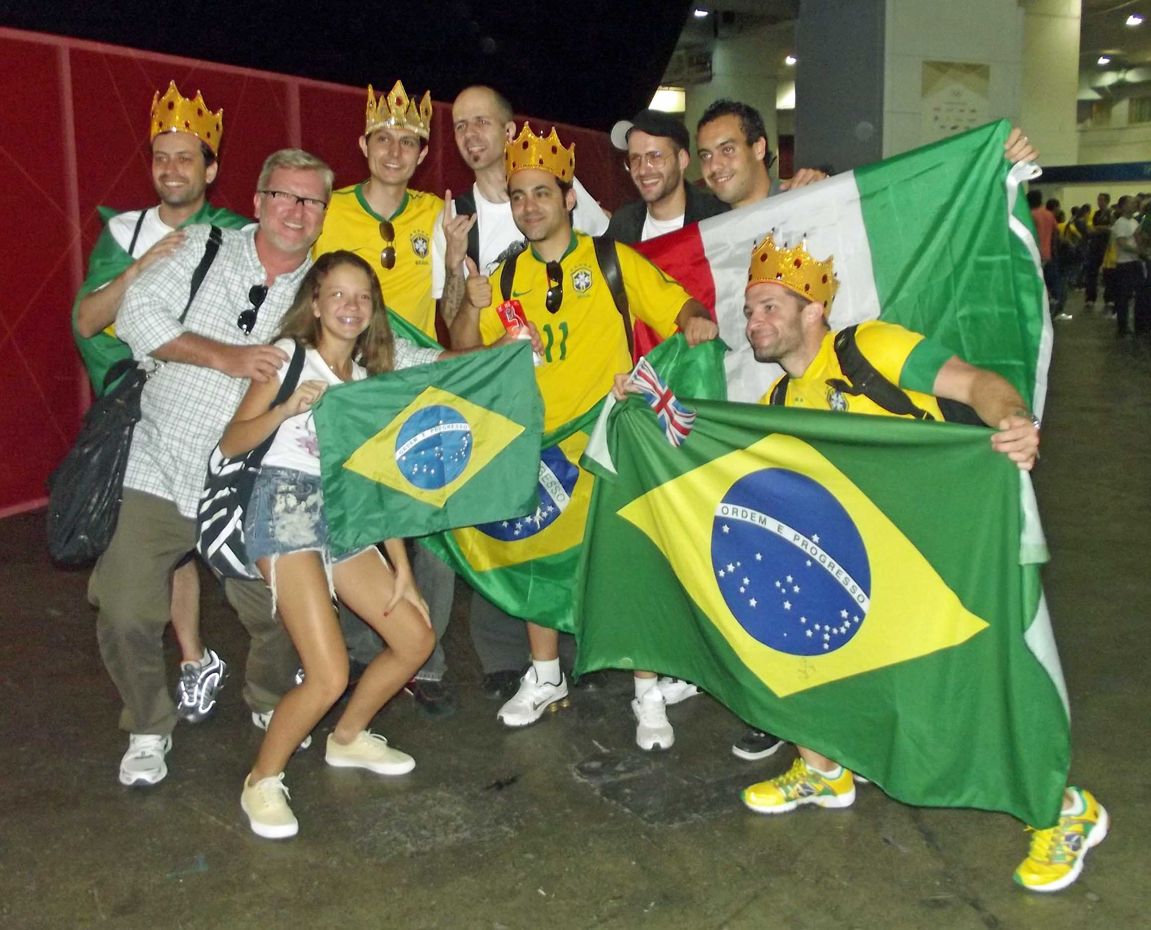 Group of people with Brazilian flags