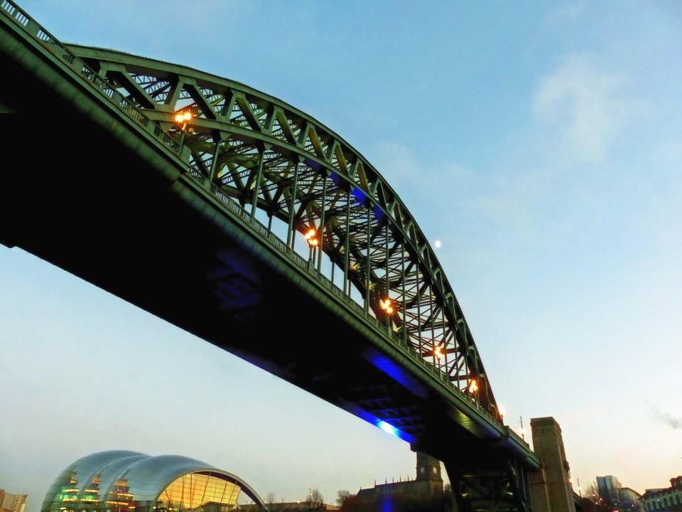 Illuminated iron suspension bridge