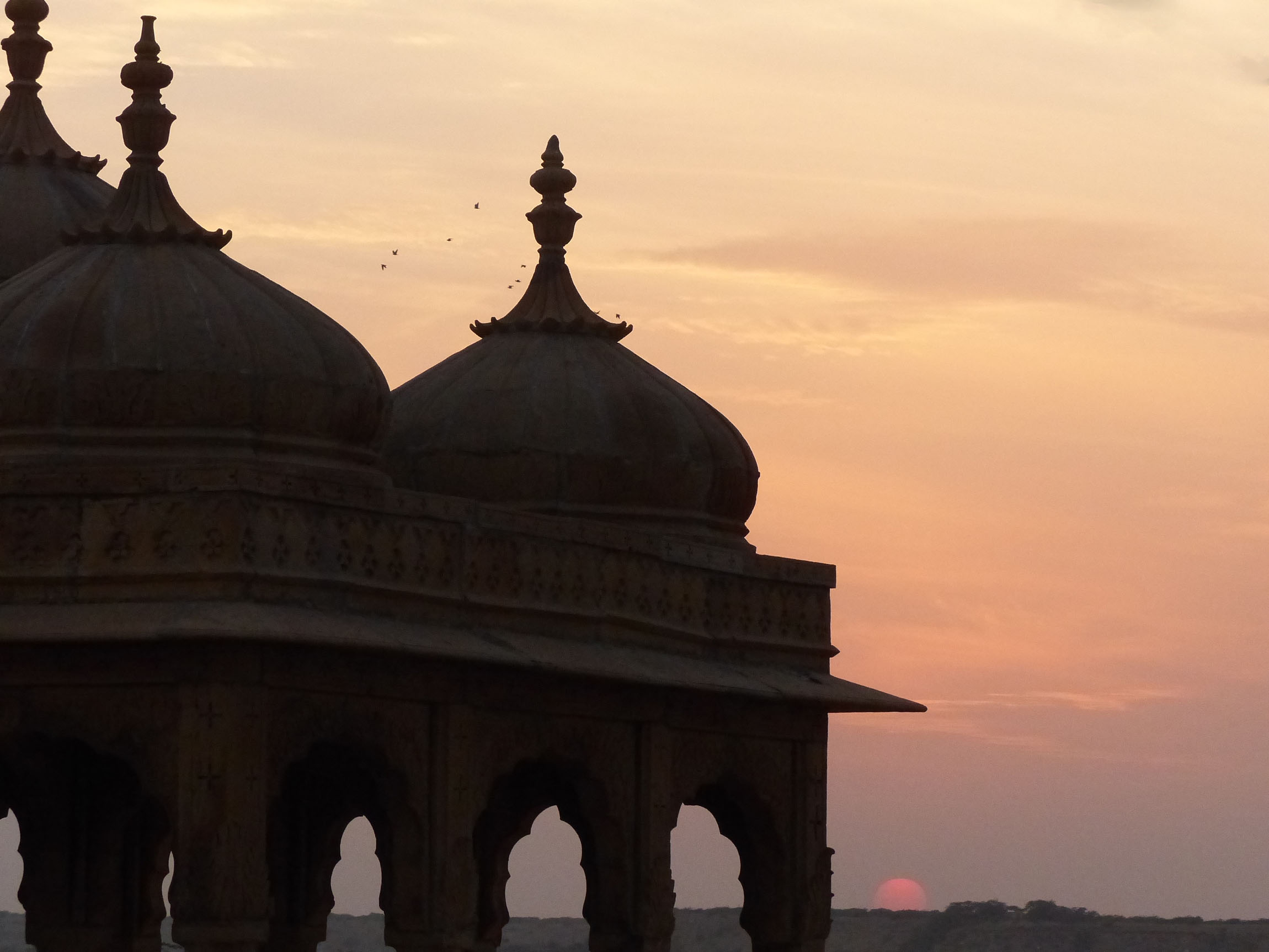 Sunset with silhouetted domes