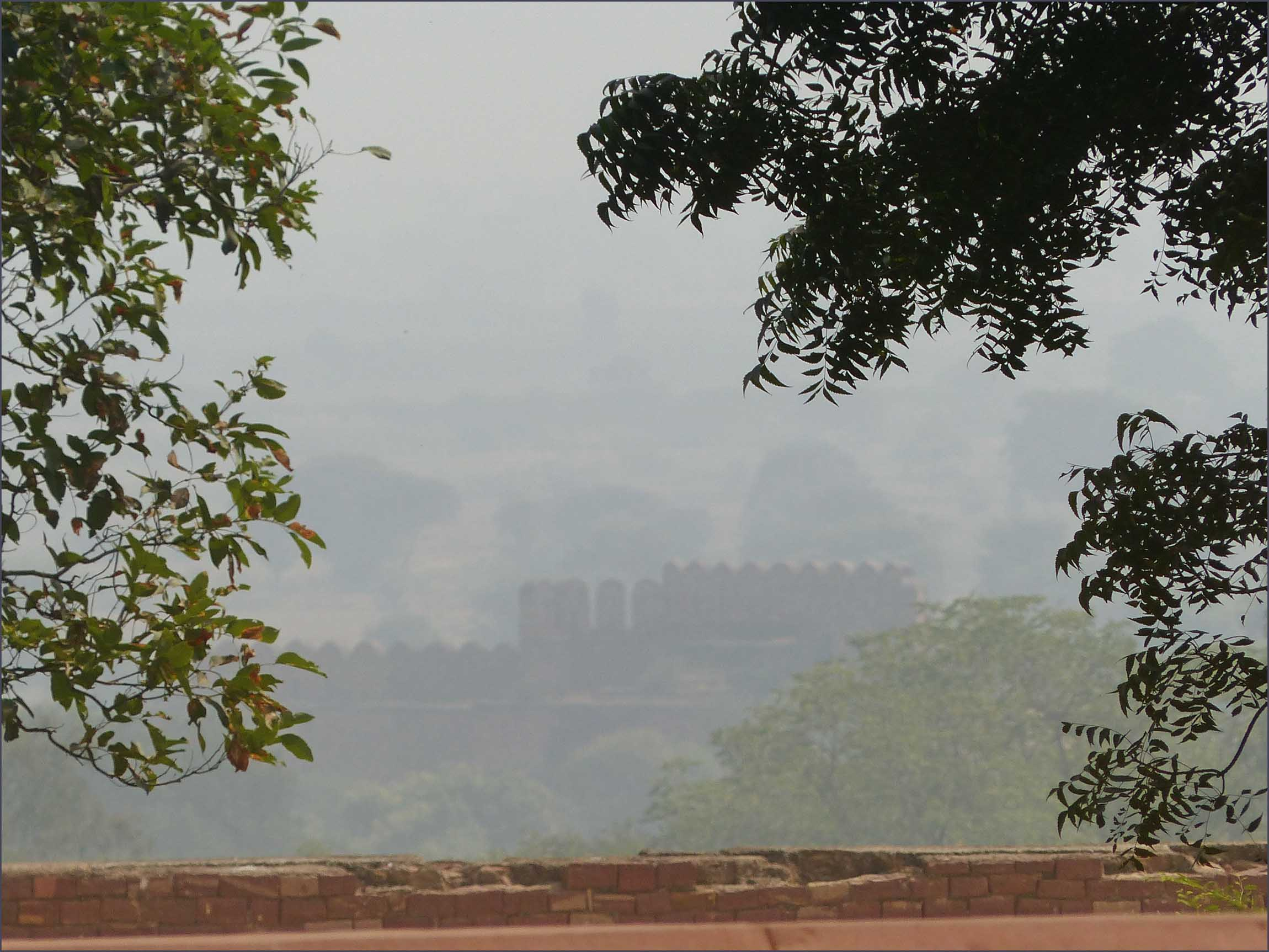 Misty view of ruins