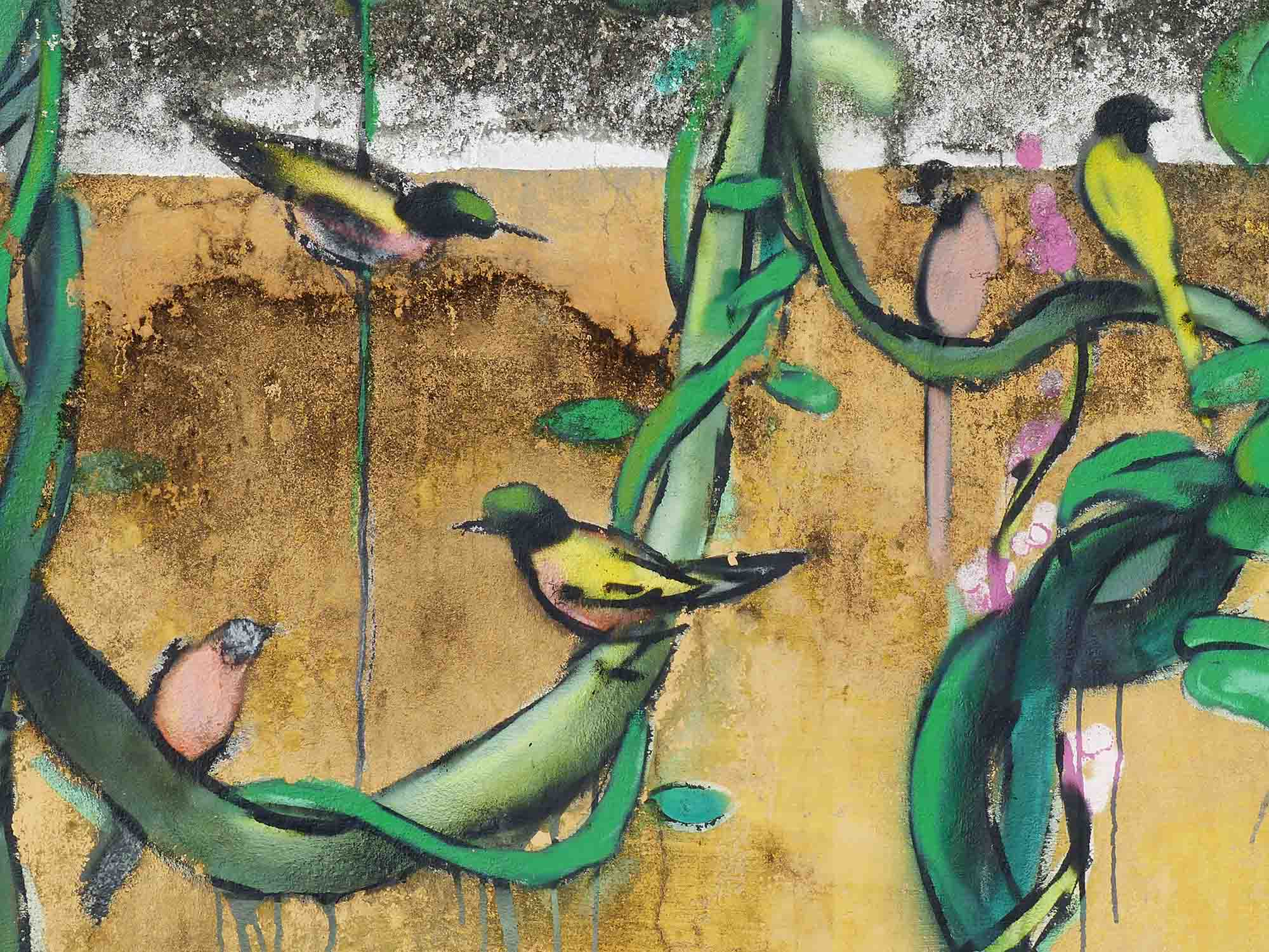 Mural of birds and vines