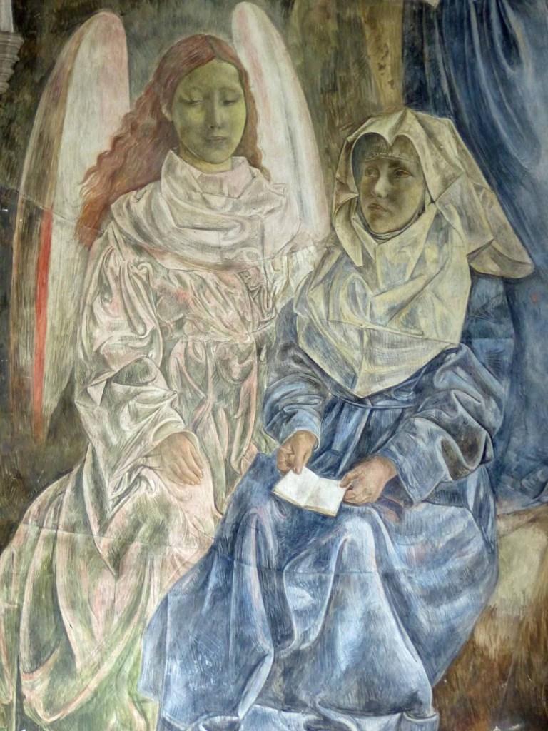 Fresco of a nun and an angel