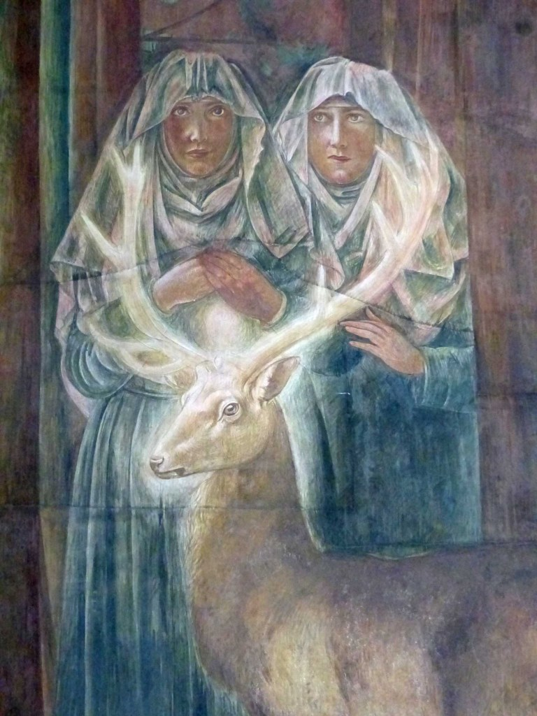 Fresco of two women and a deer