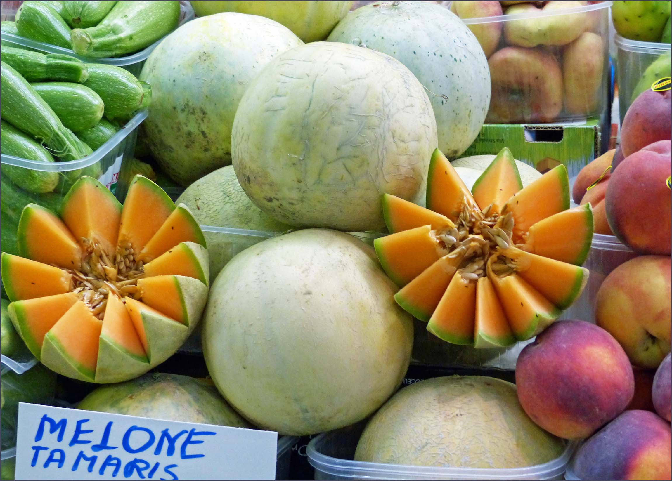 Display of melons and peaches