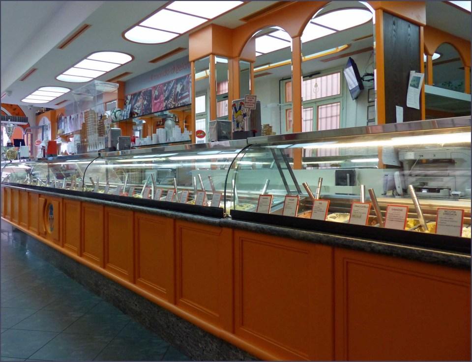 Ice cream shop counter