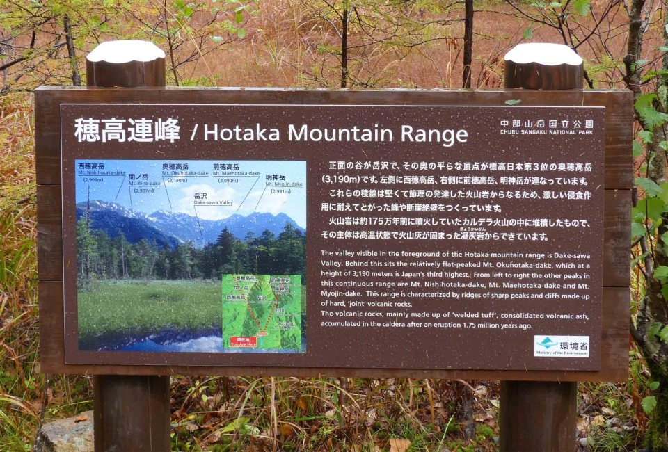 Brown information board about a mountain range